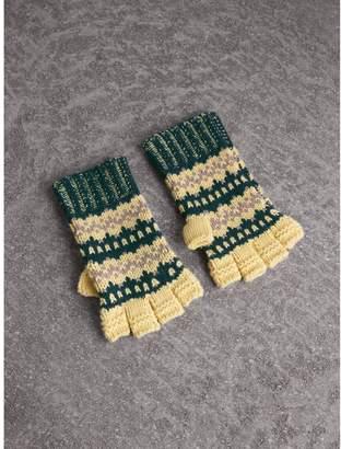 Burberry Fair Isle Cashmere Wool Blend Fingerless Gloves
