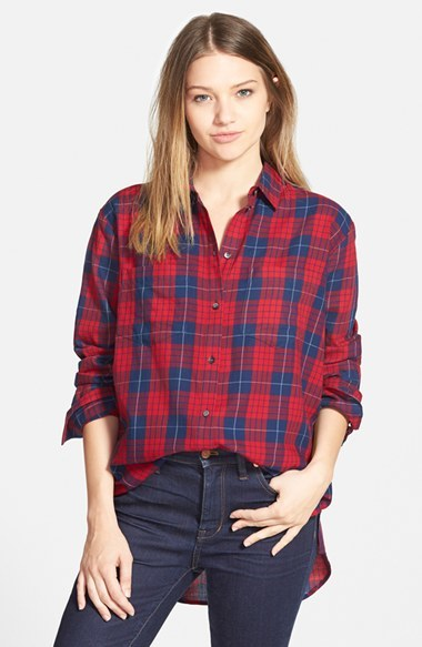Women's Madewell 'Edina Plaid' Oversize Boyshirt
