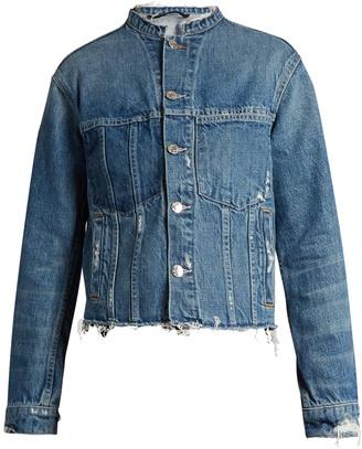 HELMUT LANG Frayed-edge cropped denim jacket $395 thestylecure.com