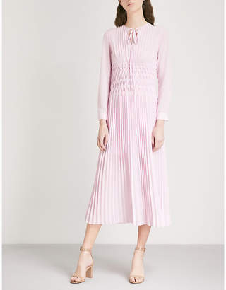 Maje Rocket pleated chiffon midi dress
