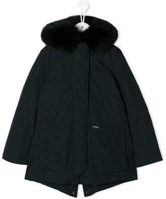 Woolrich Kids fox fur trim jacket