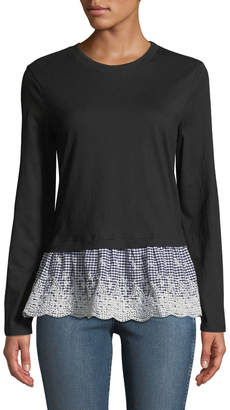 Anna Cai Gingham-Peplum Long-Sleeve Tee