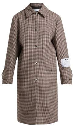 MSGM Houndstooth Wool Blend Coat - Womens - Brown Multi