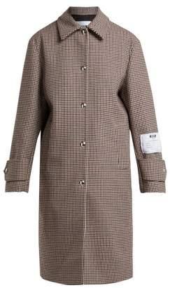 Msgm - Houndstooth Wool Blend Coat - Womens - Brown Multi