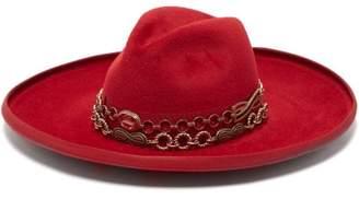 Gucci Chain And Grosgrain Trim Rabbit Felt Hat - Womens - Red