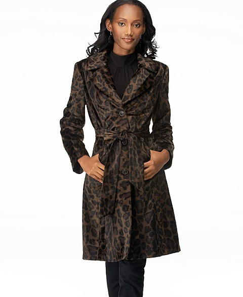 Style&co. Belted Leopard-Print Coat