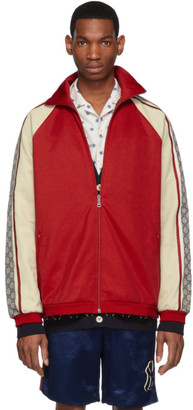 Gucci Red and Off-White Oversized Jersey Jacket