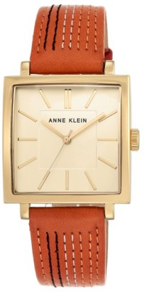 Women's Anne Klein Square Leather Strap Watch, 42Mm X 34Mm $75 thestylecure.com