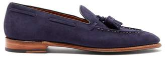 Grenson Scottie Tasseled Suede Loafers - Mens - Navy