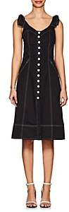Ulla Johnson Women's Emory Topstitched Denim Button-Down Dress-Black