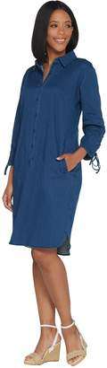 Linea By Louis Dell'olio by Louis Dell'Olio Petite Stretch Denim Dress w/ Lace Up Sleeve