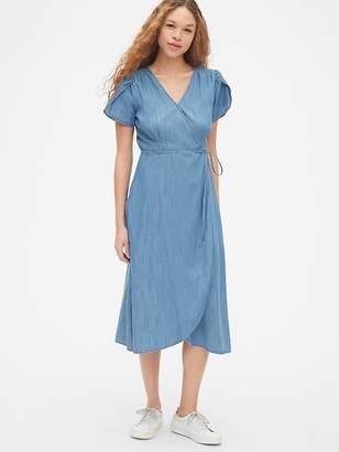 9f290458e0 Gap Short Sleeve Midi Wrap Dress in TENCEL