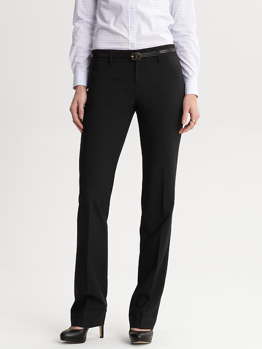 Banana Republic Logan fit black lightweight wool straight leg