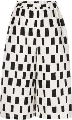 Junya Watanabe patterned high-waisted cropped trousers