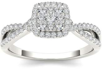 1/2ct TDW Diamond Cluster Engagement Ring in 10K