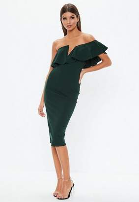 Missguided Forest Green Off Shoulder Frill Midi Dress