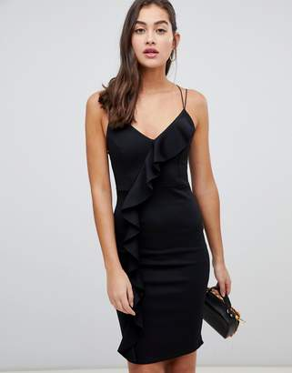 New Look frill bodycon dress in black