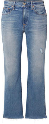 GRLFRND Joan Cropped Distressed Mid-rise Flared Jeans - Mid denim