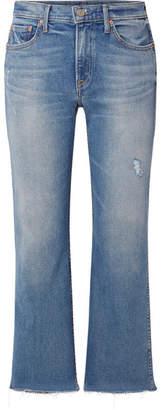 GRLFRND Joan Cropped Distressed Mid-rise Flared Jeans - Mid denim