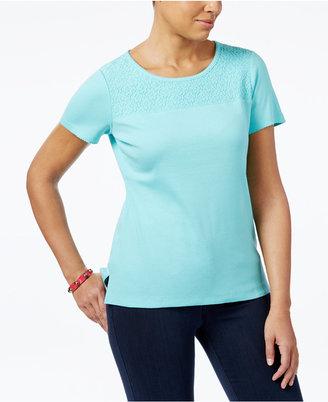 Karen Scott Cotton Lace-Yoke T-Shirt, Only at Macy's $32.50 thestylecure.com
