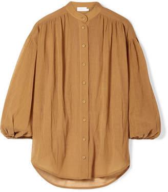 Zimmermann Primrose Cotton And Silk-blend Plissé Shirt - Mustard