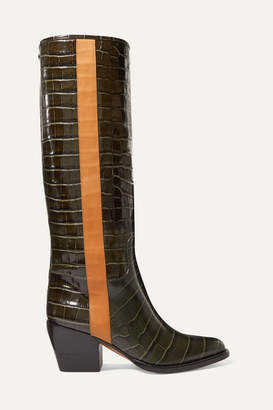 Chloé Vinny Croc-effect Leather Knee Boots - Dark green
