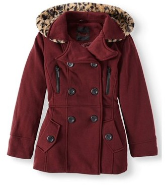 Yoki Double Breasted Wool Blend Coat with Ruffle Back (Big Girls)
