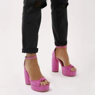 351dfa1a4d18 Public Desire Backbite Knot Detail Teardrop Heel Platforms in Hot Faux Suede