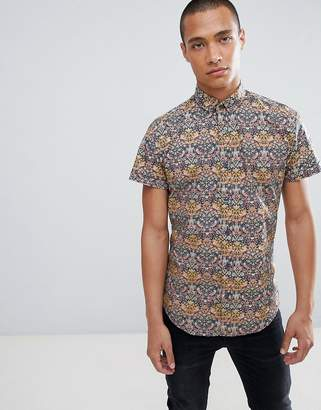 Clean Cut Copenhagen Clean Cut Small Forest Print Slim Fit Short Sleeve Shirt