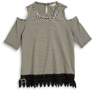 Monteau Girls 7-16 Crocheted Cold Shoulder Top $32 thestylecure.com