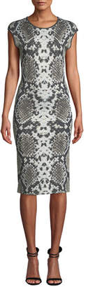 Naeem Khan NK32 Cap-Sleeve Python-Print Cocktail Dress
