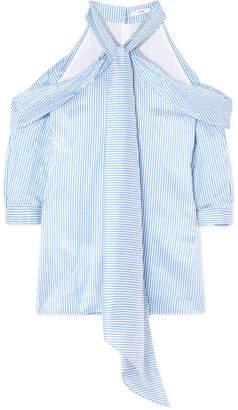 Erdem Elin Cold-shoulder Striped Silk-satin Top - Blue