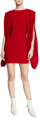 Norma Kamali High-Neck Double-Draped Split-Sleeve Mini Dress