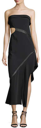 Jonathan Simkhai Strapless Side-Cutout Long Dress with Leather Trim