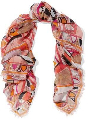 Emilio Pucci Frayed Printed Silk-Gauze Scarf