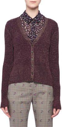 Altuzarra V-Neck Button-Front Metallic-Ribbed Cardigan Sweater