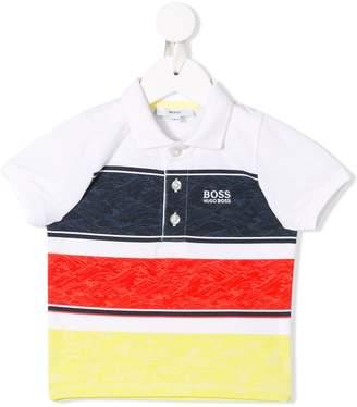 Boss Kids stripe panel polo shirt