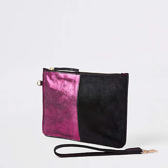 River Island Pink leather spot pouch clutch bag