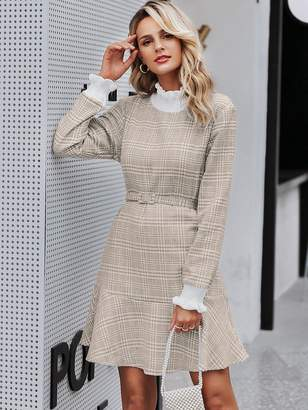 Shein Simplee Plaid Ruffle Trim Contrast Belted Tweed Dress