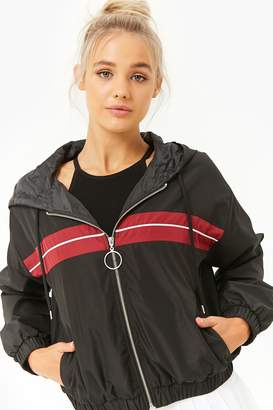Forever 21 Active Striped-Panel Windbreaker