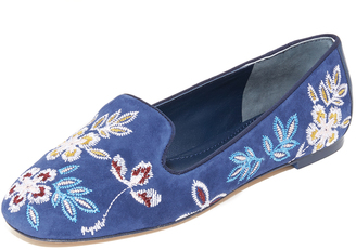 Tory Burch Embroidered Floral Smoking Slippers $295 thestylecure.com