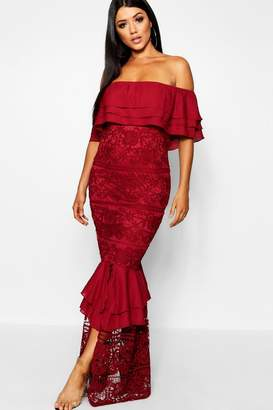 boohoo Lace Off The Shoulder Maxi Dress