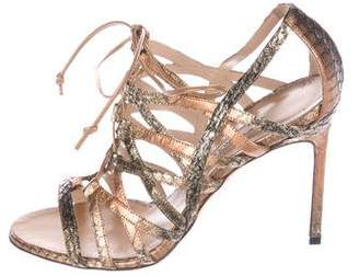 Manolo Blahnik Metallic Lace-Up Sandals
