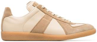 Maison Margiela nude and brown replica leather sneakers