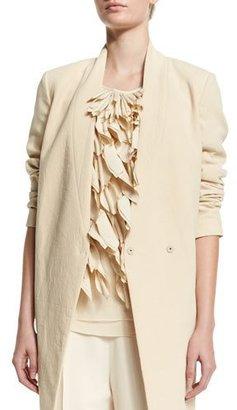 Brunello Cucinelli V-Neck Mid-Length Jacket, Butter $2,995 thestylecure.com