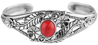 American West Sterling Red Coral Floral Cuff Br