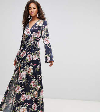 54d125d99b Asos Tall DESIGN Tall wrap maxi with long sleeve in navy floral print