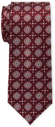 Isaac Mizrahi Black & Red Neat Medallion Silk Tie