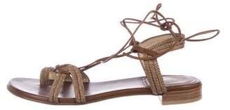Stuart Weitzman Leather Braided Sandals