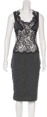 Dolce & Gabbana Lace-Paneled Midi Dress Grey Lace-Paneled Midi Dress
